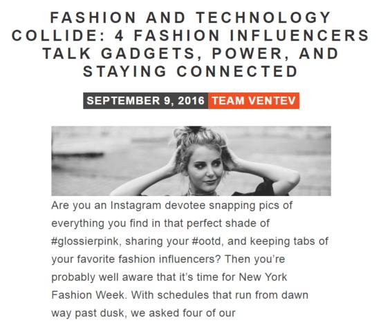 Fashion influencer Q&A for Ventev Mobile