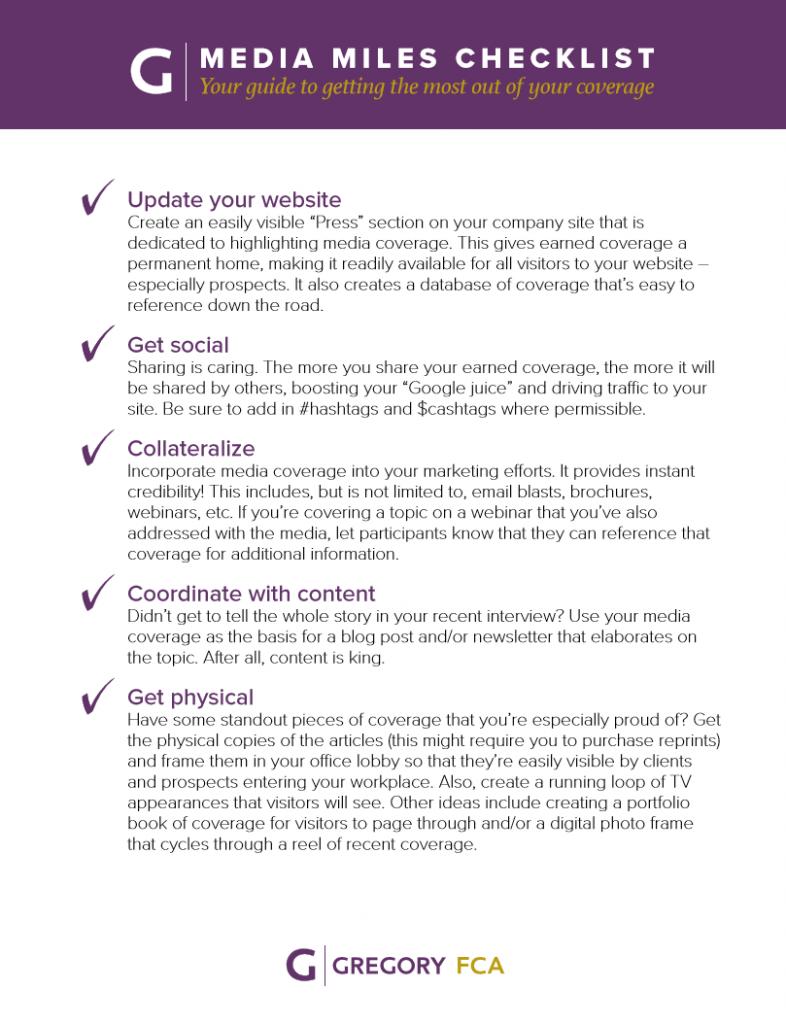 Media Miles Checklist