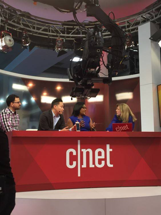 Oticon talking to CNET at CES 2018